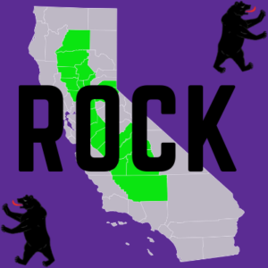 An image with a purple background with an image of Cali in the middle with the Central Valley Highlighted. The name r0ck is spelled across the middle. There are 2 bears, one on top right, the other on bottom left
