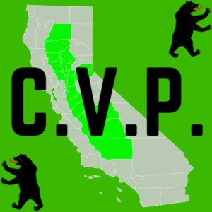 "This image is the Central Valley Playas image on Central Valley Entertainment's ""Central Valley Music"" page. It is a green square image that says CVP with the Central Cali map in the middle."